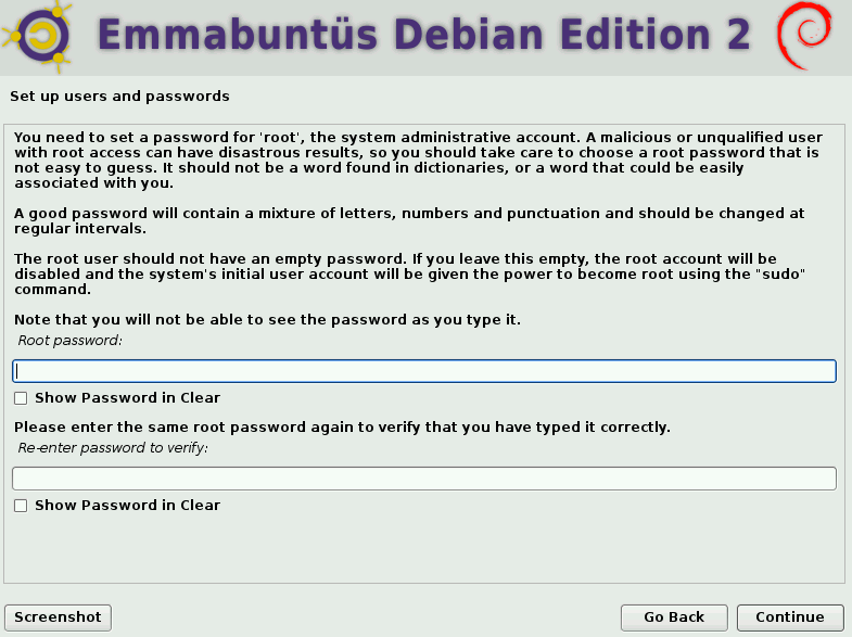 configuring users and root password during Emmabuntüs installation
