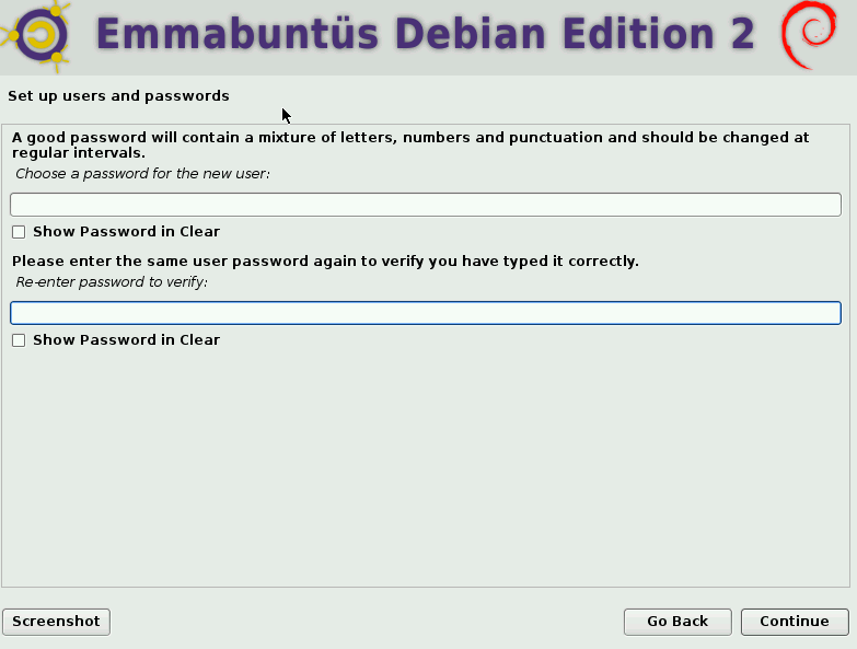 setting a user password during Emmabuntüs installation