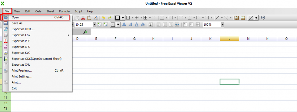 opening Excel files in Free Excel Viewer