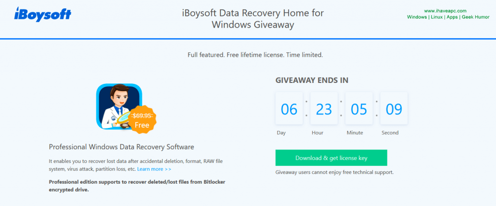 iBoysoft Data Recovery Home giveaway 2019