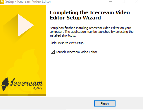 Icecream Video Editor installation completed