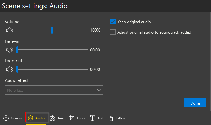 Audio settings in Icecream Video Editor