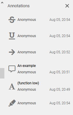 list of annotations done in PDF Bob