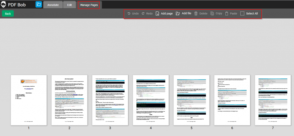 adding, removing and managing pages in PDF Bob