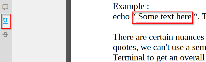 using the underline feature in PDF Bob