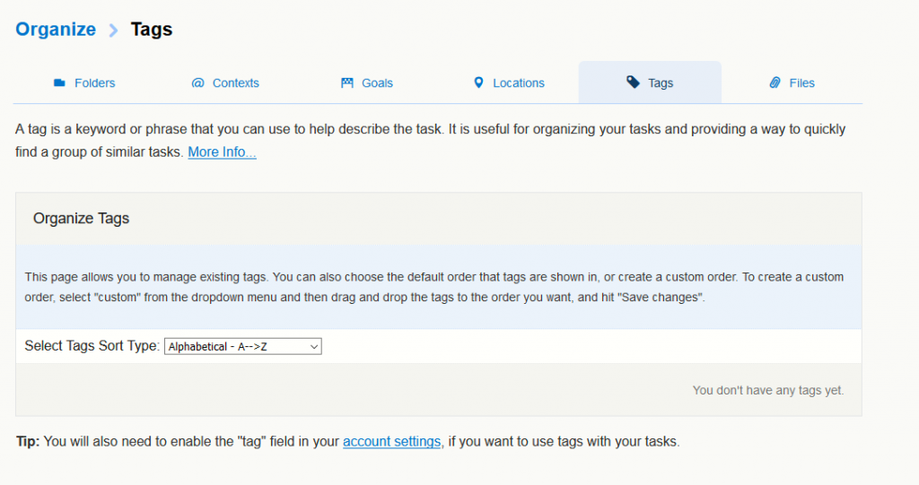 adding tags for tasks in Toodledo
