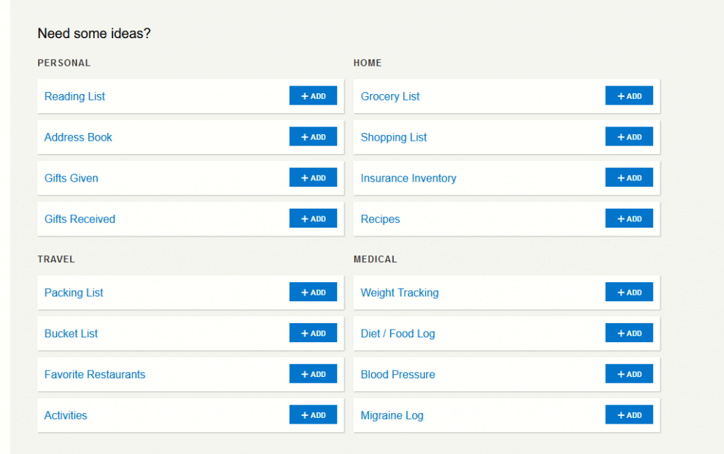 available lists as templates in Toodledo
