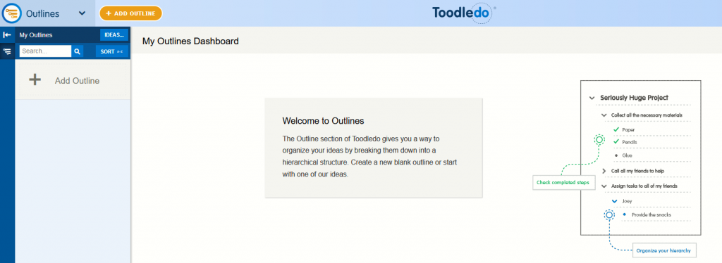 making a new outlinein Toodledo