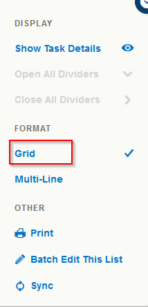 switch between Grid and Multi-line view in Toodledo