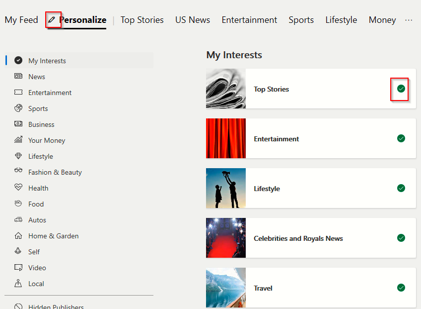 Personalizing which topics will appear in suggested content feed