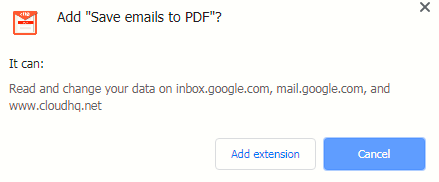 adding Save emails to PDF add-on to Chrome