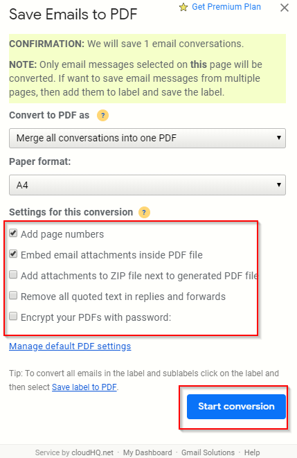 choosing conversion options for saving Gmail messages to PDF files