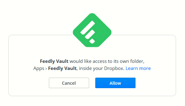authorizing Dropbox access for Feedly