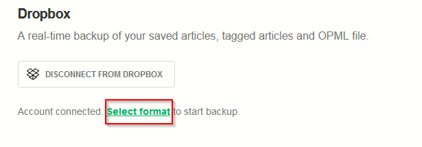 choosing a backup format to store Feedly data to Dropbox