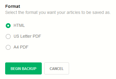HTML or PDF formats for backing up Feedly data to Dropbox