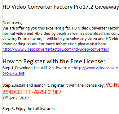 license file with link to download setup and the license key for HD Video Converter Factory Pro