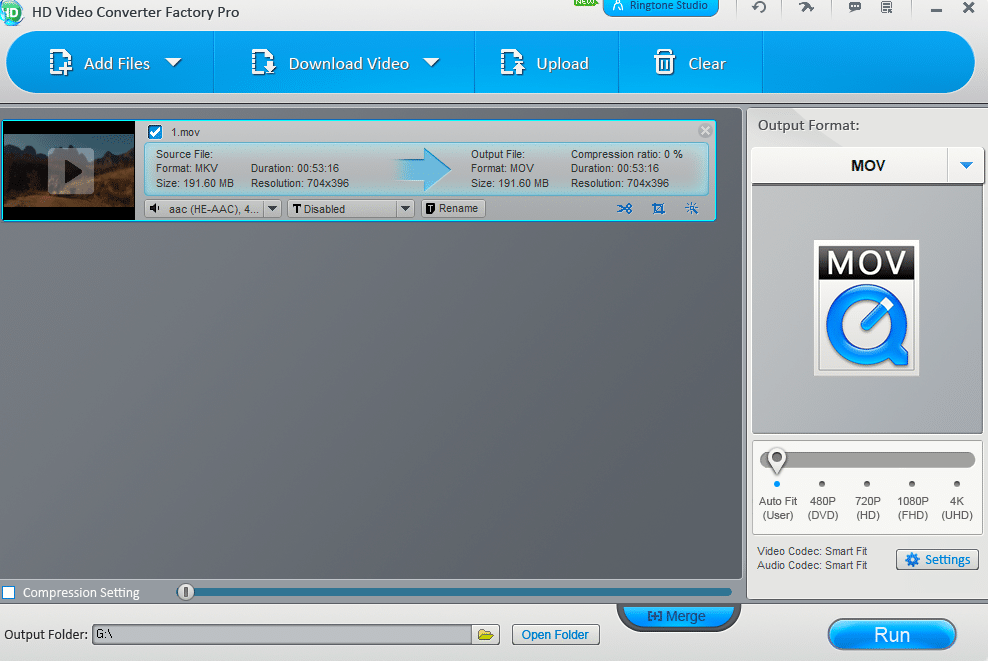 converting video files using HD Video Converter Factory Pro