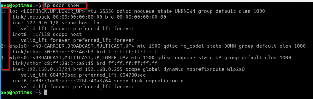 list the network interfaces using the ip command