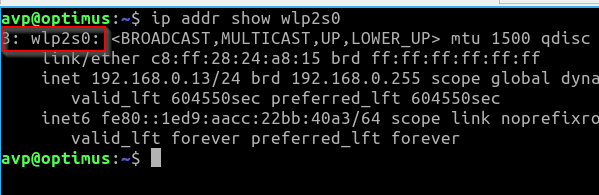 querying for a specific network interface details using the ip command