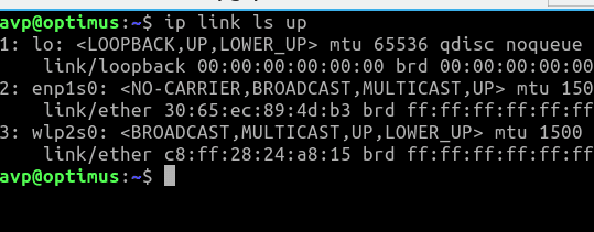 showing active and enabled network interfaces using the ip command in Linux