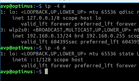 finding IPv4 and IPv6 details of the system using the ip command