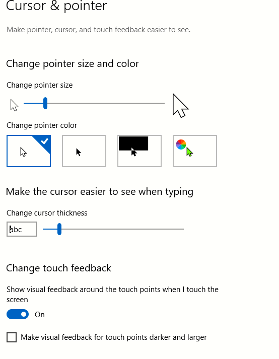 set pointer size and color and also cursor thickness in Windows 10