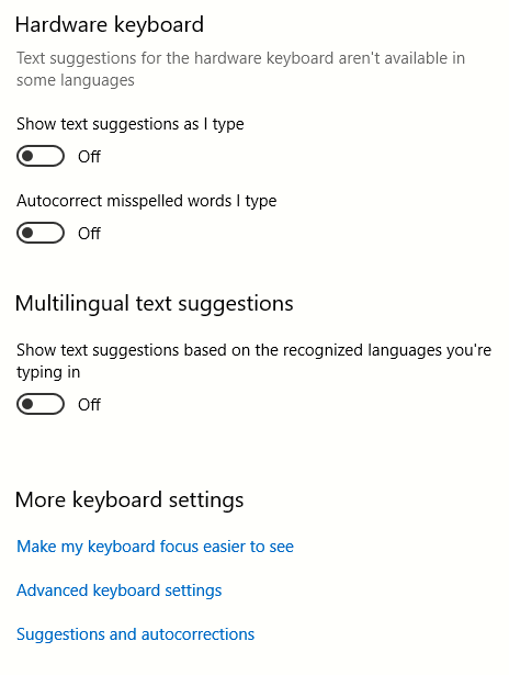 Hardware keyboard settings in Windows 10