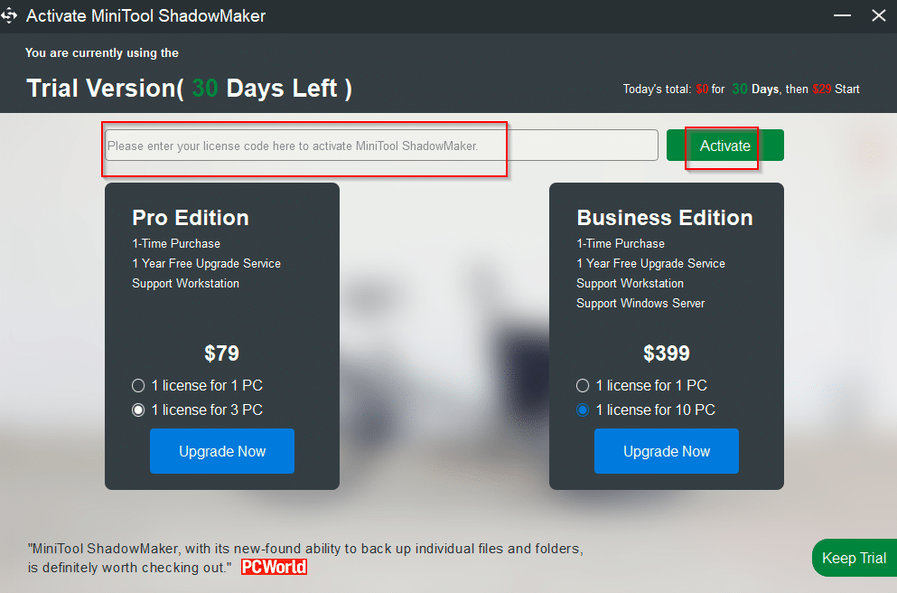 activating giveaway version of MiniTool ShadowMaker Pro