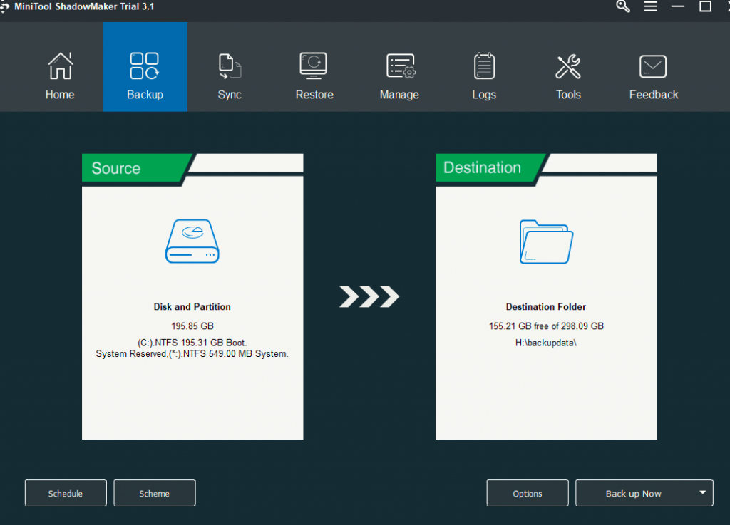 choosing disk and partitions to be backed up using MiniTool ShadowMaker Pro