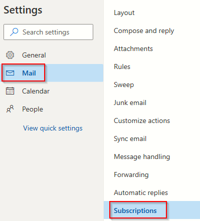 configuring Subscriptions settings in Outlook.com