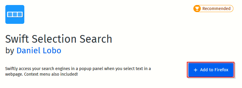Swift Selection Search Firefox add-on page
