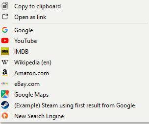 search engines visible in context menu of Swift Selection Search