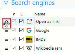 changing the order of search engines in the list when using Swift Selection Search add-on
