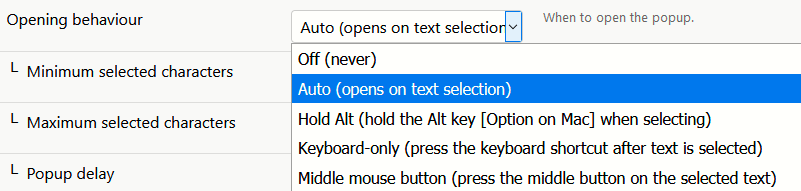 turning off auto popup option for Swift Selection Search