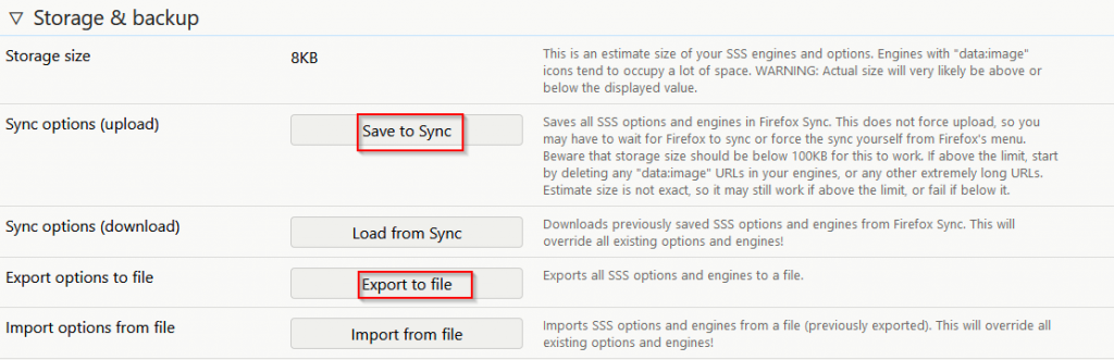 backup and export Swift Selection Search configuration settings