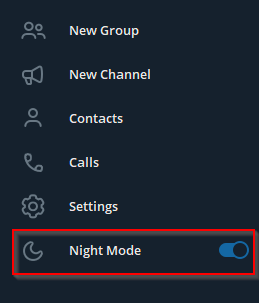 enabling night mode for Telegram Desktop