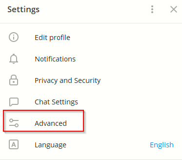 accessing advanced settings in Telegram Desktop