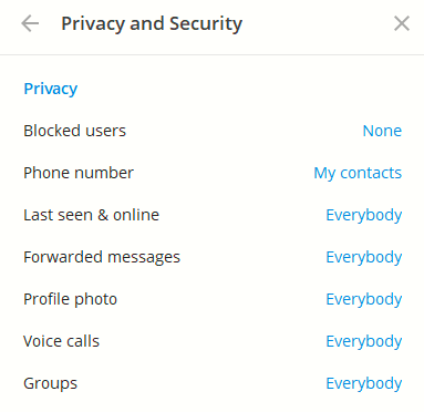 other privacy and security settings in Telegram Desktop