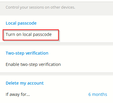 enabling local passcode for Telegram Desktop