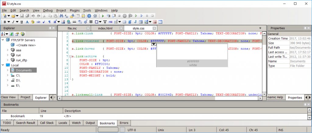 Codelobster IDE interface