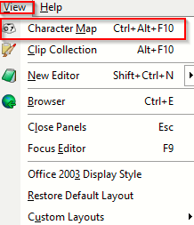 accessing character map in EditPad Lite