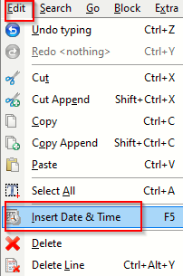 insert timestamp in files in EditPad Lite