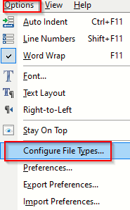configuring preferences based on file types in EditPad Lite
