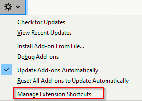 accessing add-ons shortcuts settings in Firefox