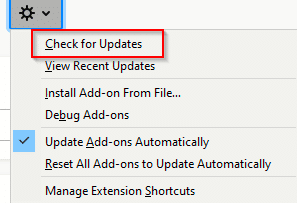 manually check for Firefox add-ons updates