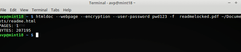 setting a password for converted PDF files using htmldoc