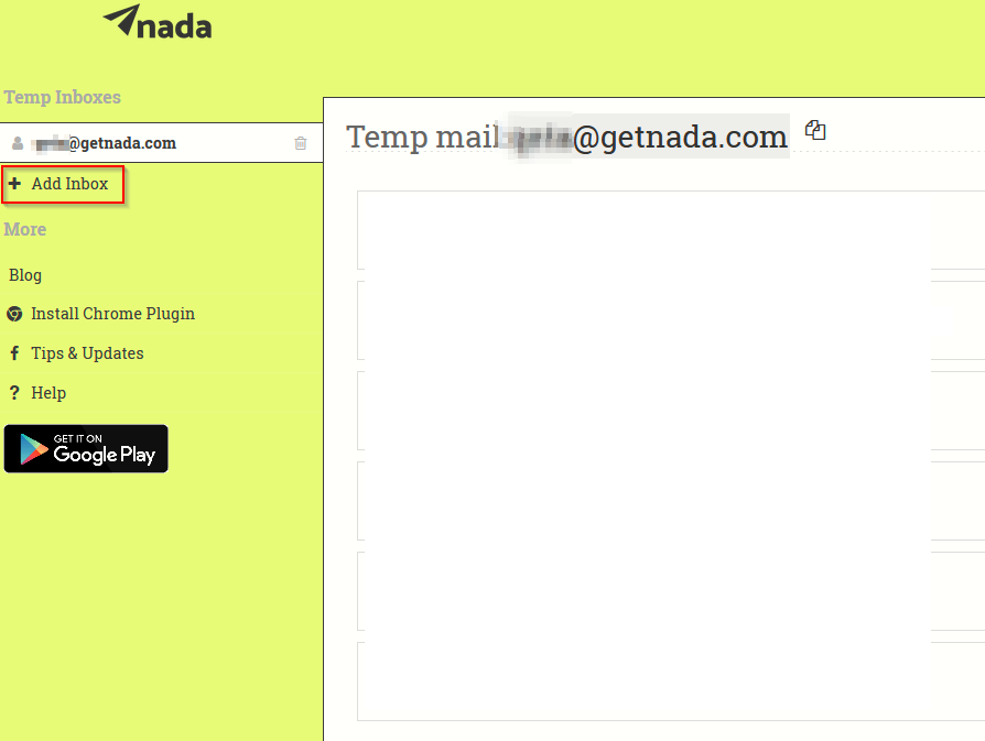 Nada default inbox