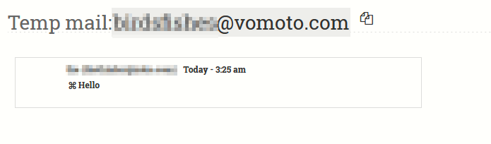 emails received in temporary email inbox
