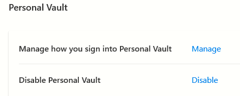 Disable Personal Vault