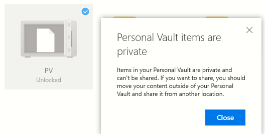 files in Personal Vault can't be shared